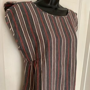 Boxy stripe dress linen blend boutique/rare